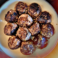 Sunset Sauce over Sausage Spheres