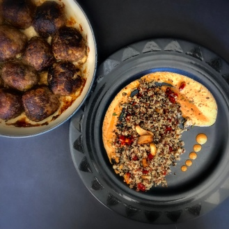 Sunset Sauce & Quinoa with Sausage Spheres