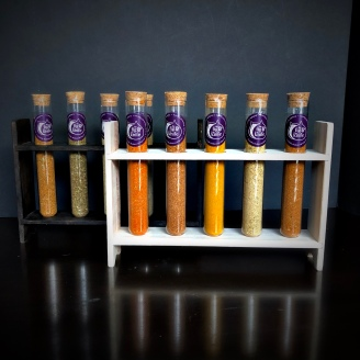 Glass Tubes in Wood Stand (Stained or Natural)